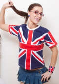 Angel shows off her love for the Union Jack