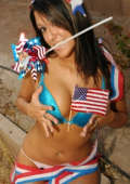 Rita celebrates July 4th in a very patriotic skimpy outfit