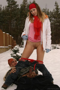 Cool girl fucked outdoors in the snow 7
