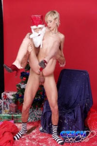 Blond Czech girl gets her presents from Santa Claus 9
